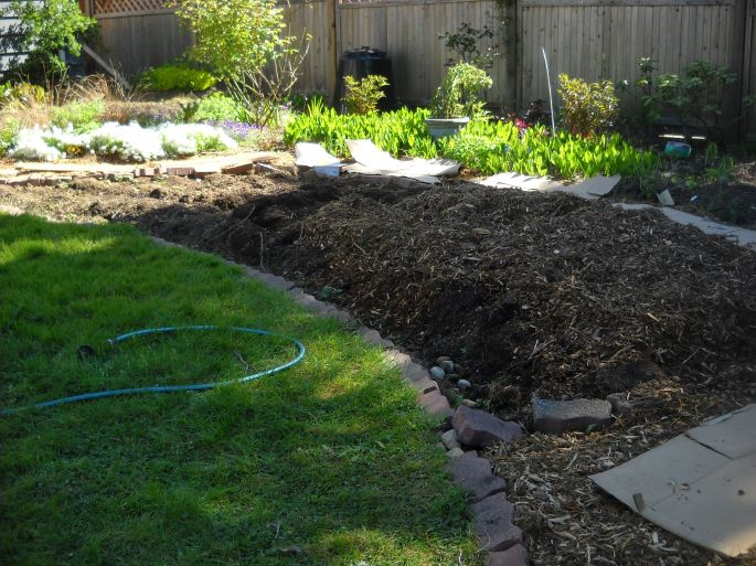 """About 6"""" of wood chip mulch applied on top of the turned-over, partly-decomposed turf."""
