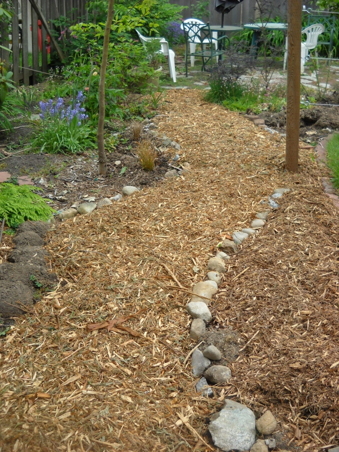 ... where the path then goes along the back with a perennial border next to the fence, and vegetable beds to the right. It meets the back patio.