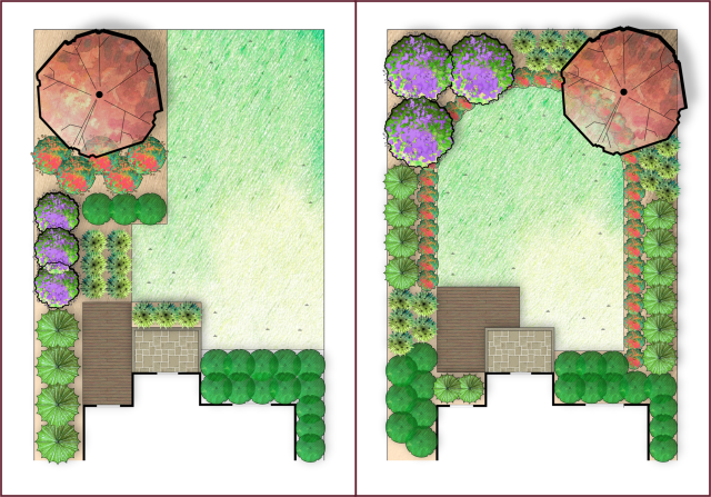 """Notice the asymmetrical UNbalance on the left, and the difference on the right, where the """"weight"""" of the three shrubs in the left corner feels similar to the weight of the tree in the right corner."""