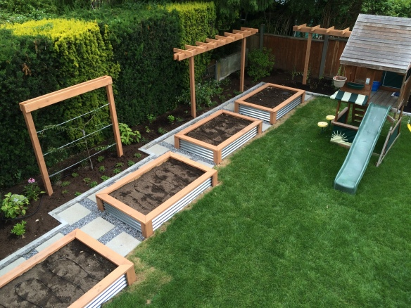 "18"" pavers andWalkways around the 4' x 6' raised beds"