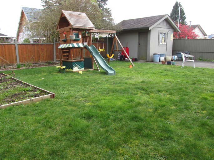 """THe kids loved to """"slip 'n slide"""" on the lawn, so we needed to keep a large lawn while still chang"""