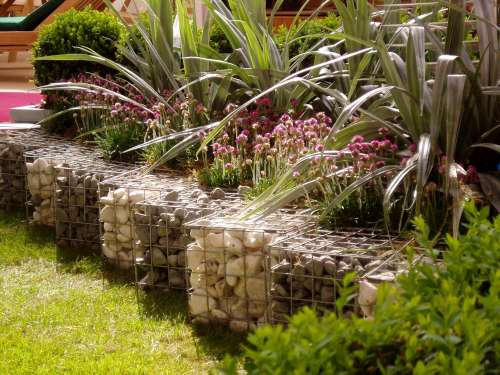 Gabion adapted for decorative garden application.