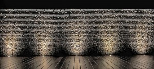 Lighting a gabion wall with spotlights